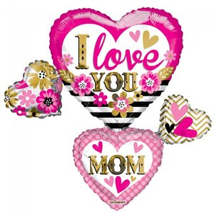 Folie ballon xl I LOVE YOU MOM 91,4 cm groot