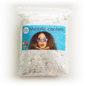 Confetti metallic round 10mm - 250 gram - white