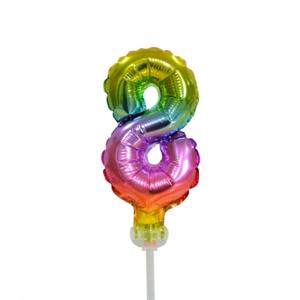 Folie ballon cijfer 8 is 13 cm groot regenboog kleuren