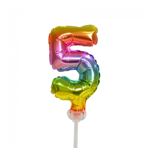 Folie ballon cijfer 5 is 13 cm groot regenboog kleuren