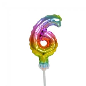 Folie ballon cijfer 6 is 13 cm groot regenboog kleuren