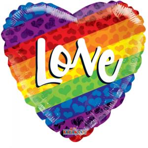 Folie ballon als regenboog hart LOVE 46 cm groot