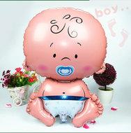 Grote XL blauw baby jongen ballon geboorte 75 cm