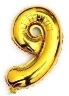 Goedkoop 118% Korting 100 cm grote XL folie ballon van hoge kwaliteit nummer 9 goud