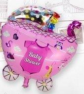 Ballonnenparade Grote XL roze kinderwagen ballon babyshower voor geboorte meisje 68 cm