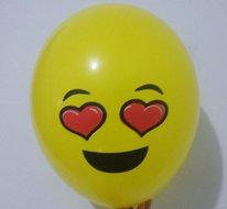 Ballonnenparade 25 stuks ballon smiley 30 cm geel hart ogen
