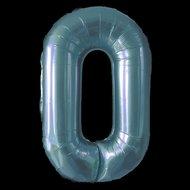 Cijferballon blauw 97 cm nummer 0 professionele kwaliteit Ballonnenparade