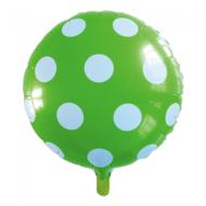 Ronde folie ballon met stippen 46 cm licht groen