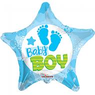 Folie ballon baby boy ster vorm 46 cm groot