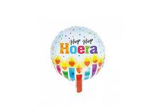 Folie ballon rond 46 cm groot met tekst hiep hiep hoera